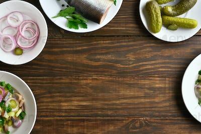 Ingredients for herring salad