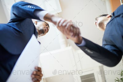 Business handshake at office