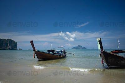 Ao Nang Beach with traditional longtail boats, Krabi, Thailand.