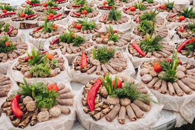 Meat and vegetable platters at banquet.Banquet wedding reception concept