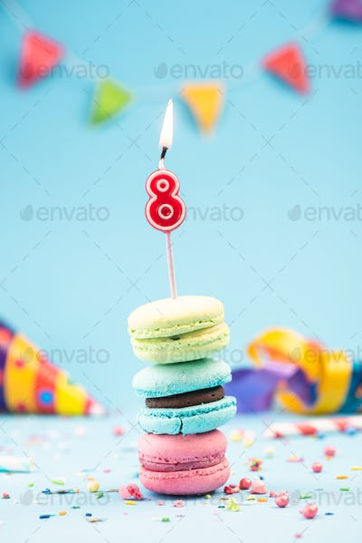 Eighth 8th Birthday Card with Candle in Colorful Macaroons and S