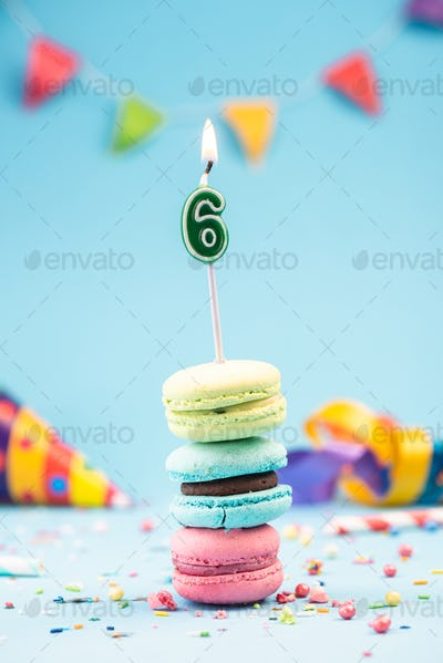Sixth 6th Birthday Card with Candle in Colorful Macaroons and Sp