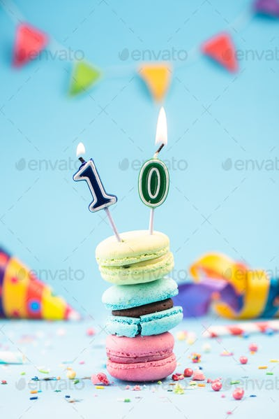 Tenth 10th Birthday Card with Candle in Colorful Macaroons and S