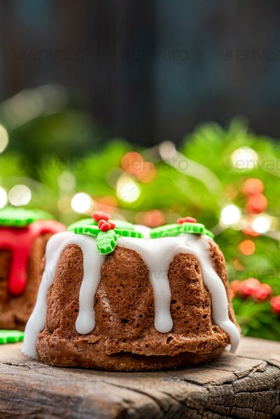 Festive Christmas Cake Decorated with Icing, Close Up View