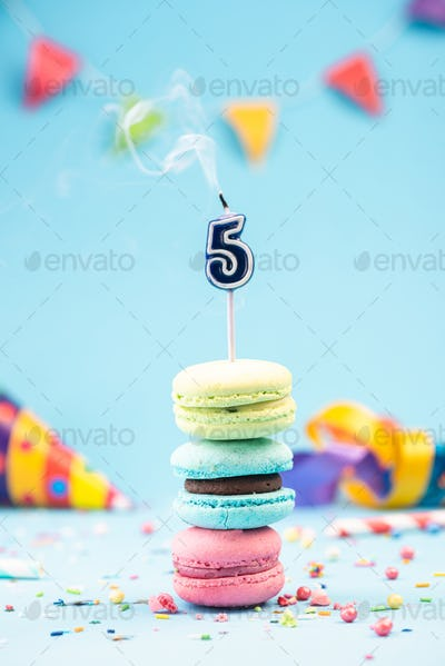 Fifth 5th Birthday Card with Candle Blown Out in Colorful Macaro