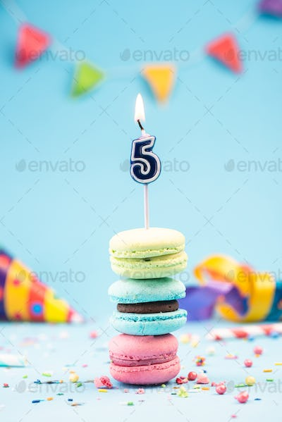 Fifth 5th Birthday Card with Candle in Colorful Macaroons and Sp