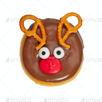 Christmas donut in deer shape isolated on white background.