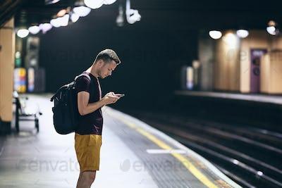 Waiting on underground station platform
