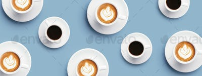 Many Cups of Coffee and Cappuccino on Blue Background