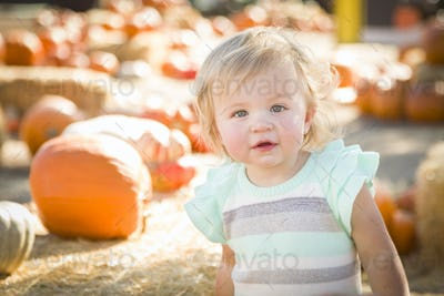 Adorable Baby Girl Having Fun in a Rustic Ranch Setting at the Pumpkin Patch.