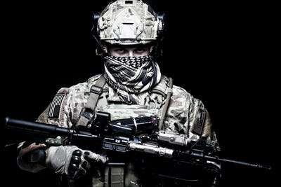 Armed marine rider portrait with hidden face
