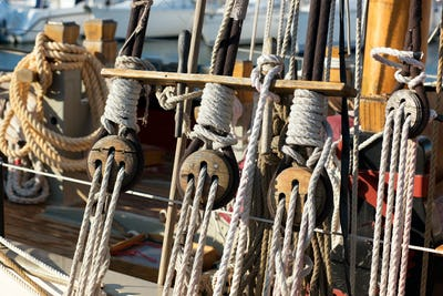Close up details of ropes or cordage in rigging