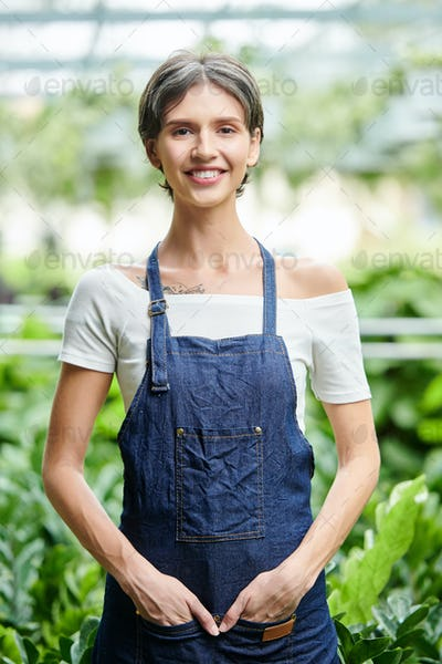 Garden greenhouse worker