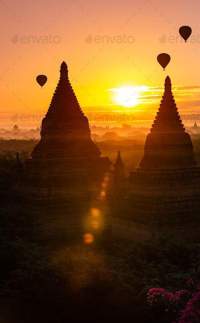 Bagan City Myanmar Hot Air Balloons at Sunrise