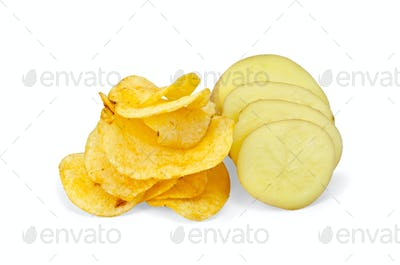 Chips with sliced potatoes
