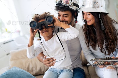 Young family being playful at home