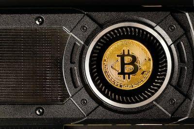Gold bitcoin on crypto mining GPU computer hardware