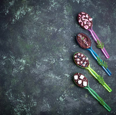 Spoons with chocolate. Christmas present
