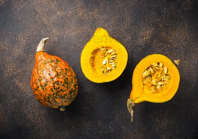 Dissected raw hokkaido pumpkin with seeds