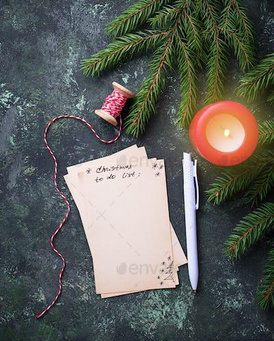 Christmas to do list. Top view.