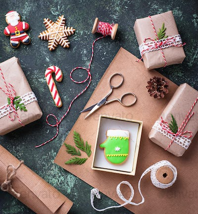 Process of packing boxes with Christmas gifts presents