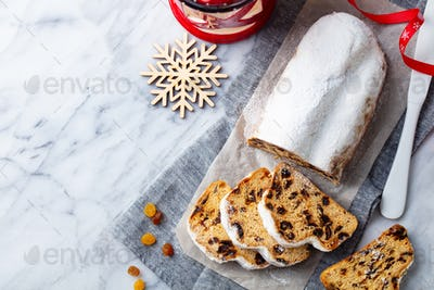 Christmas Stollen Cake. Marble Background.