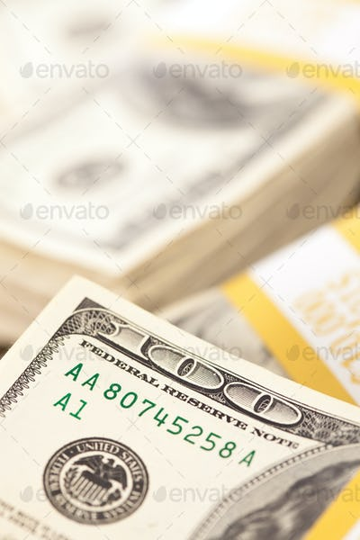 Stacks of Ten Thousand Dollar Piles of One Hundred Dollar Bills.