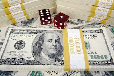 One Hundred Dollar Bills & Red Dice