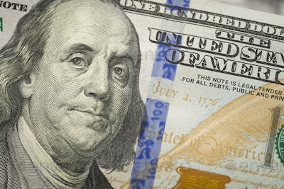 Abstract Detail of the Newly Designed United States One Hundred Dollar Bill.