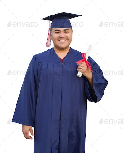 Hispanic Male With Deploma Wearing Graduation Cap and Gown Isolated.