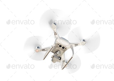 Drone Quadcopter From Below Isolated On A White Background.