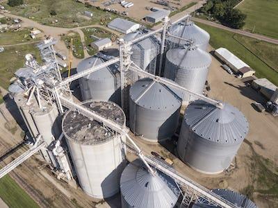 Aerial view of grain elevators and industrial area in South Dakota.