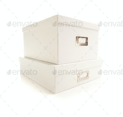 Two Stacked White File Boxes with Lids Isolated on a White Background.