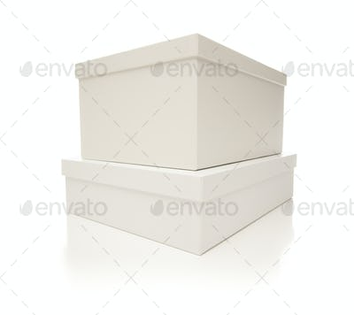 Two Stacked White Boxes with Lids Isolated on a White Background.