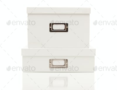 Stacked Blank White File Boxes with Lids Isolated on a White Background Ready for Your Own Message.