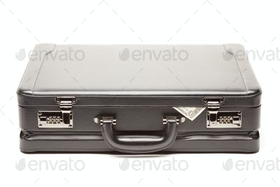 Large Black Briefcase & Dollar Corner Exposed Isolated on a White Background.