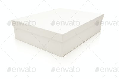 White Box with Lid Isolated on a White Background.