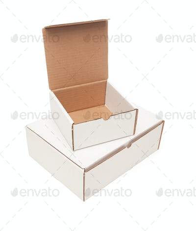 Stack of Blank White Cardboard Boxes, Top Opened, Isolated on a White Background.