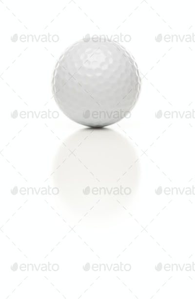 Single White Golf Ball Isolated on a White Background.