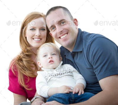 Young Attractive Parents and Child Portrait Isolated on White.