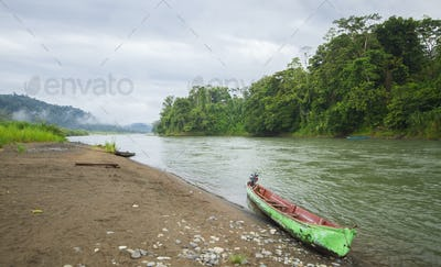 Canoe on the River Bank in Costa Rica