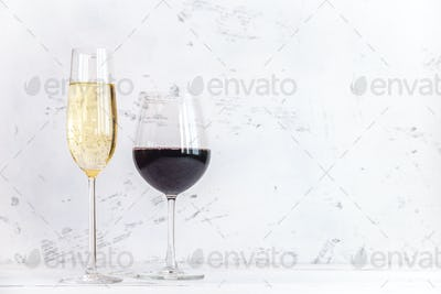Glasses of wine and sparkling wine