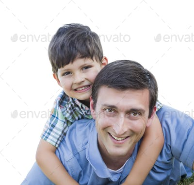 Happy Father and Son Piggyback Isolated on a White Background.