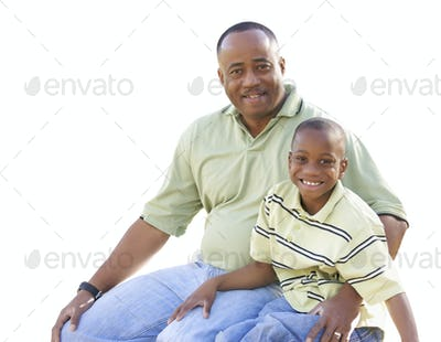 Happy African American Man and Child Isolated on a White Background.