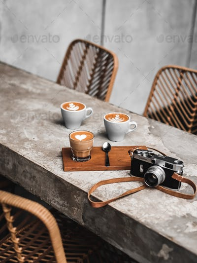 Hot Cafe Latte with Classic Camera