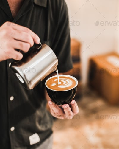 Man Making Latte Art