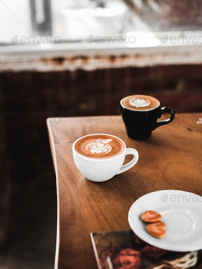 Hot Cafe Latte and Hot Cappuccino