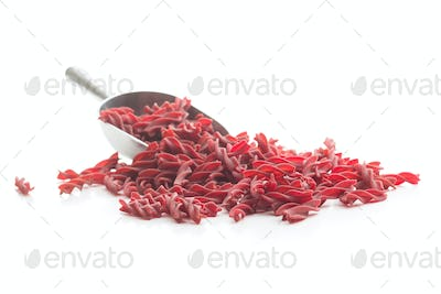 Uncooked colorful pasta