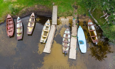 Aerial View of Rowing Boats