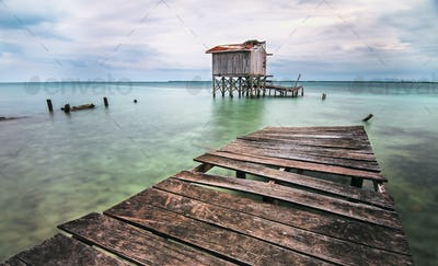 Old Dock Over the Caribbean Sea in Belize